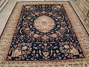 Exclusive Mid Night Blue Floral Hand Knotted Area Rug Wool Silk Carpet 9 X 12'