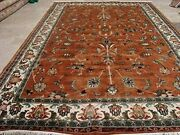 Rectangle Area Rug Ivory Rust Kashan Hand Knotted Wool Silk Carpet 9 X 6and039