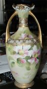 Vase Hand Painted Nippon China Floral Ornate Double Handled Rare Piece 11