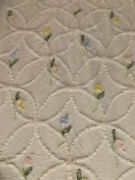 Vtg Cottage Chic Floral Wedding Ring Mended Chenille Bedspread 83x106 Cutter