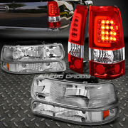 Chrome Amber Bumper Headlight+red Lens 3d Led Bar Tail Light For 99-02 Silverado