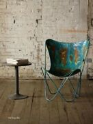 Butterfly Chairs In Iron W Aged Rustic Blue Finish Hand Made And Sold As Pairs