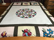 Machine Applique Dragonfly With Flowers Quilt Top 0682