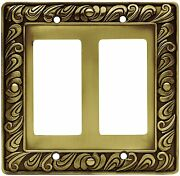 64038 Paisley Double Gfci Tumbled Antique Brass Cover Plate