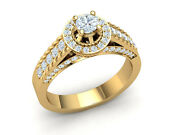 Genuine 1.25ct Round Cut Diamond Bridal Rope Cathedral Halo Fancy Ring 18k Gold