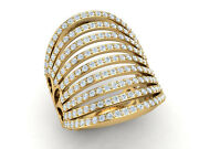 Natural 1.5ct Round Cut Diamond Wide Multi-row Fancy Right Hand Ring 14k Gold
