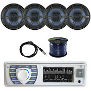 Bluetooth Marine Receiver Stereo W/enrock Coaxial Speaker Antenna And Spkr Wire