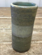 """Mideke Green Small Vase Test Piece Stripes 3 1/2"""" 78x Signed Bellingham Pottery"""