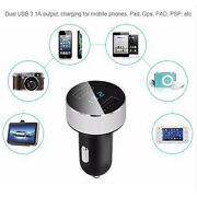 Car Charger 5v 3.1a Dual Usb Charge Led Display Voltage For All Phone Silver