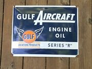 Gulf Oil Vintage Aircraft Engine Oil Porcelain Sign - Gulf Aviation