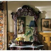 Elegant Hand Carved Floral Scrollwork Solid Mahogany Wall Mirror