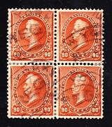Us 229 90c Perry Scarce Used Block Of 4 Xf Scv 800