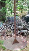 Antique Industrial Steel Garden Yard Flag Pole Stand Tether Ball Toy Game Post