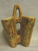 Retro Handcrafted & Signed Ceramic Double Vase - Great Colors