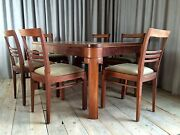 French Dining Set Table With Seven Chairs 1920 And039s Vintage Art Deco Rare
