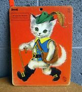 Puss In Boots Frame Tray Saalfield Inlaid Puzzle 1965 Vtg Fairy Tale Cagliuso Og