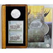 Canada 2004 Rare Moose 5 Fine Proof Silver Coin And Stamp Rcm Set.