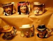 Royal Doulton - Exc - Complete Set Of Six 6 - Wild West Character Jugs