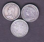 3 Uk Silver Coins, Threepence 1875,1889,1901 Years