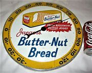 Antique Usa Pam Clock Co. 58 Butter Nut Bread Art Advertising Thermometer Sign