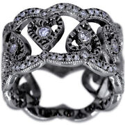 14k White Gold Ladies Diamond Band Wide Cigar Band With Migrain Size 6.5