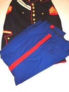 Marine Corps Dress Blues Blouse And Trousers Enlisted 39 R Trousers 33 Short Sgt