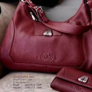 Merlot Burgundy Pebble Grain Leather Hobo Shoulder Bag Purse Longaberger Sr New
