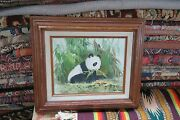 Vintage Signed Kent Choy Oil On Panel Board Panda Painting 8x10 - Frame 13x15