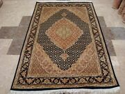 Awesome Blue Hand Knotted Rug Wool Silk Touch Carpet 6 X 4and039
