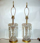Antique Pair 15 Frosted Victorian Glass Electrified Luster Lamps 8 Prisms Each