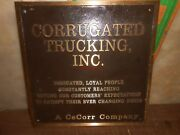 Vintage Solid Brass Corrugated Trucking Inc Cecorr Company Sign 18 X 18