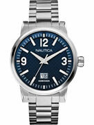 Nautica Watch Stainless Steel Menand039s Nct 600 Blue Dial Big Date A18596g New