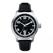 Nautica Menand039s Watch Nct 400 Big Date Black Dial Black Leather Strap A13551g