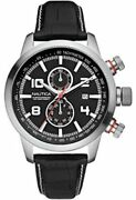 Nautica Nct 400 Menand039s Chronograph Watch A18546g Black Dial Black Leather Strap