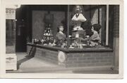 1920s Rppc Postcard Of Window Display W/ Mannequin Heads And Phone Booth Sign