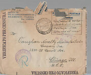 1941 Ferramonti Italy Censored Concentration Camp Cover Usa Free Franking Mark
