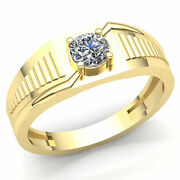 0.75carat Round Cut Diamond Mens Classic Solitaire Wedding Band Ring 10k Gold