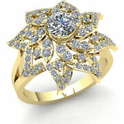 2.00ct Round Diamond Ladies Flower Accented Solitaire Engagement Ring 18k Gold