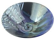 Studio Art Pottery Bowl Spiral Bottom Swirled Glaze Glazed Blue Matthew Patton