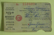 1956 California Dept Of Fish And Game Resident Citizen Angling Fishing License