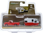 Greenlight 1962 Dodge D-100 And Shasta 15and039 Airflyte Red/ White 1/64 Car 32040-a