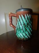 Rare American Majolica Wood Fern Creamer / Milk Pitcher With Pewter Top