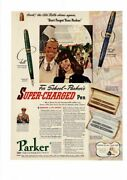 Vintage Old Parker Super-charged Vacumatic Fountain Pen And Pencil Ad Print