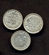 3 Holland Silver Coins 10 Cent1941/38