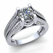 1ct Round Cut Real Diamond Ladies Split Shank Solitaire Engagement Ring 18k Gold