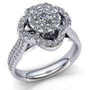 Natural 5ctw Round Cut Diamond Ladies Cluster Halo Engagement Ring 10k Gold