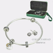 Authentic Pandora Silver And 14k Gold Bangle Earrings And Charms Gift Set B800747-19