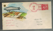 1925 Uss Los Angeles Nyc Usa To Bermuda Zeppelin Airship Cover Hand Drawn