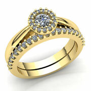 Real 1carat Round Cut Diamond Ladies Solitaire Accent Engagement Ring 18k Gold