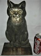 Antique 12 Pound Cast Iron Cat Doorstop Home Office Door Art Hubley Usa Kitten